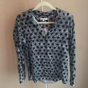 3/$30 Foxcroft Wrinkle Free Black Dot Button Down